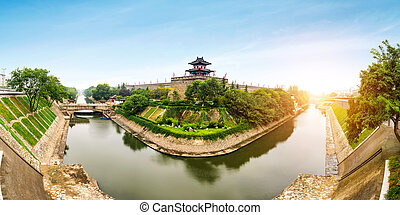 Ancient City Wall - Xi'an ancient city wall and moat, China...