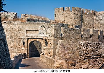 Ancient city walls of Rhodes Island - Ancient ruins walls of...