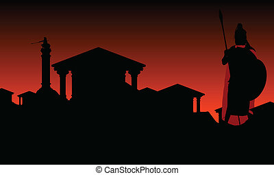 ancient city with guardian. secondt variant. vector ...