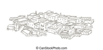 Ancient city with old buildings of oriental architecture...