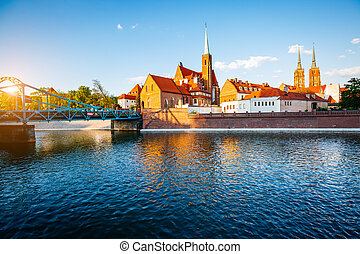 Ancient city Wroclaw on a sunny day. Location Cathedral of...