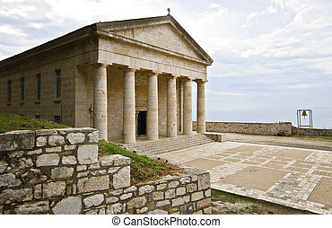 Ancient classic Greek temple at Corfu