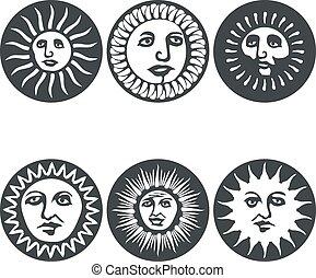 Sun faces. Vector illustration