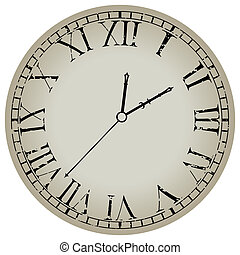 ancient clock against white background, abstract vector art...