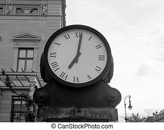 Ancient clock in Berlin in black and white