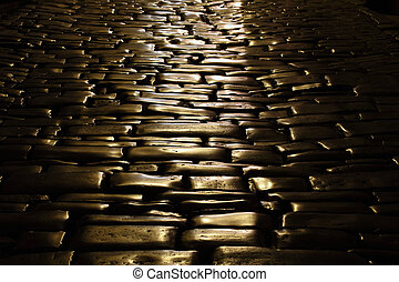 Ancient cobblestone pavement in the old town of Rovinj, Croatia
