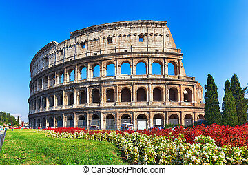 ancient Colosseum in Rome, Italy - ancient Colosseum with...