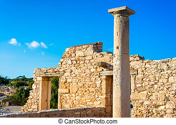 Ancient column at Sanctuary of Apollo Hylates. Limassol District. Cyprus