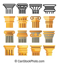 Ancient Column Icon Set Vector. Architecture Roman Symbol. Ancient Pillar. Greece Building. Rome Culture. Old Graphic Element. Historical Classical Sign. Line, Flat Illustration