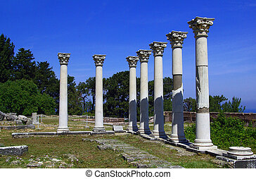Ancient columns, ancient Greece - Colonnade among the ruins...