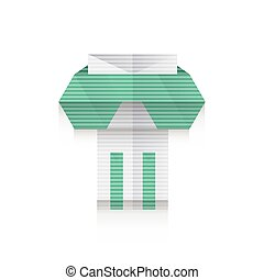 Ancient columns icon origami set