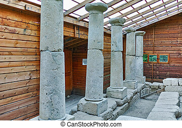 Ancient columns in  archeological site of Starosel, Plovdiv Region