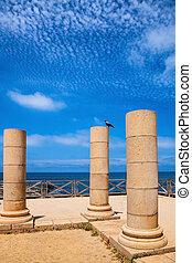 Ancient columns in Caesarea, Israel