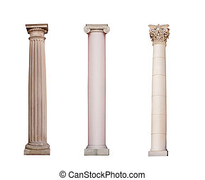 ancient columns of Ionic, Doric and Corinthian ordo are...