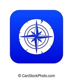 Ancient compass icon digital blue