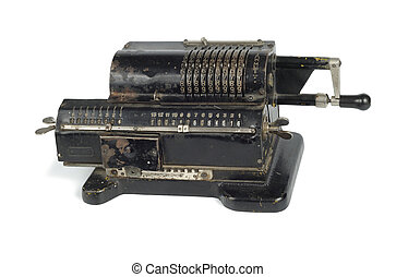Ancient Computer - Old black adding machine isolated on...