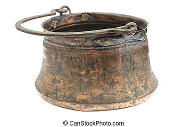 ancient copper cauldron