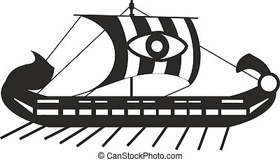 Ancient craft - Ancient Greek ship in black and white style
