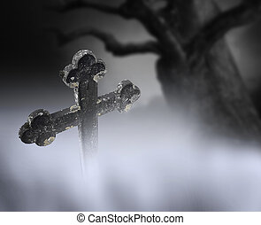 Ancient cross on cemetery