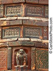Ancient Crouching Tiger Dancer Bricks Details Iron Buddhist Pago