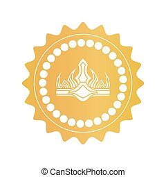 Ancient Crown on Royal Quality Mark of Gold Color