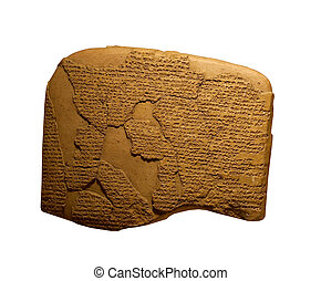 ancient cuneiform writing on clay tablets on white