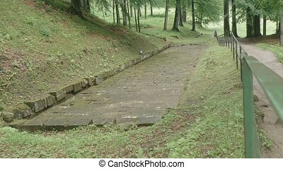 Ancient Dacian Road in Forest - Ancient paved Dacian road in...