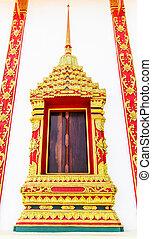 Ancient decorative door of Thai temple