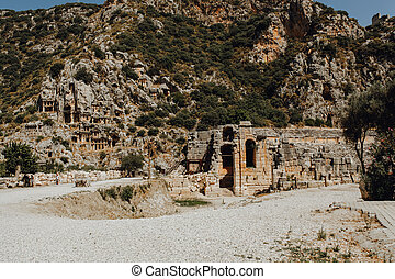 Ancient Destroyed Old Building on Mountain