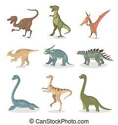 Ancient dinosaurs set.