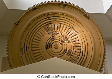 Ancient disk used for decoration of the pediment of Heras...