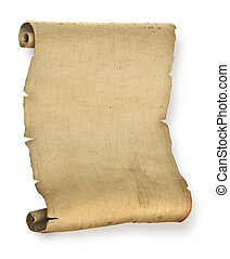 Old ragged manuscript paper or parchment document roll