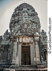 Ancient Door Angkor Ruins at Cambodia, Asia. Culture, Tradition, Religion. History.