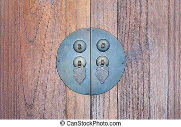 Ancient door handle on old wooden background