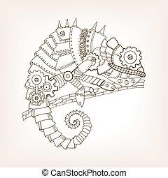 Ancient draft of mechanical chameleon vector