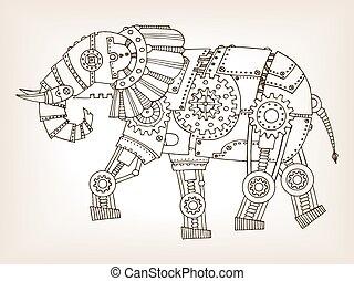 Ancient draft of mechanical elephant vector