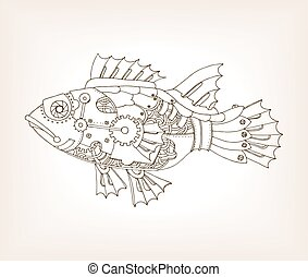 Ancient draft of mechanical fish vector