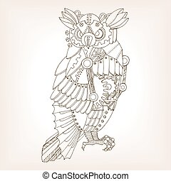 Ancient draft of mechanical owl vector - Ancient draft of ...