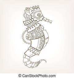 Ancient draft of mechanical sea horse vector