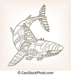 Ancient draft of mechanical shark vector