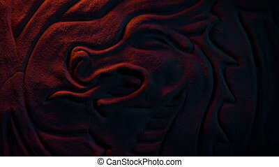 Ancient Dragon Wall Carving In Fire Glow - Firelight ...