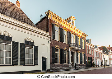 Ancient Dutch street in the city of Doesburg in the province...