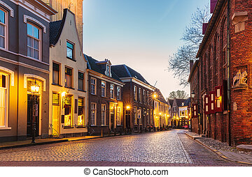 Ancient Dutch street in the city of Doesburg - Ancient Dutch...