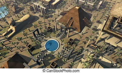 Ancient Egypt animated scenic bird's eye view. 4K - 3D...