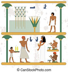 Ancient egypt background. Egypt man walking along marsh. Rich people feast. Historical background.Ancient people