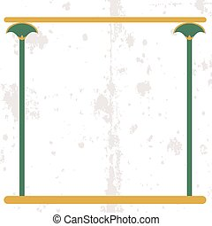 Ancient egypt background. Empty frame with cane stems on sand. Historical background. Ancient people