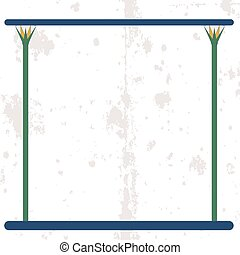 Ancient egypt background. Empty frame with cane stems on water. Historical background. Ancient people
