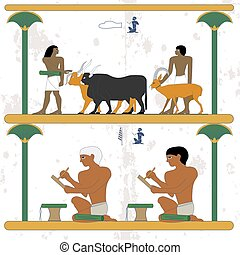 Ancient egypt background. Man lead cows and goat. Scribes at work. Egypt scribes write at papyrus. Historical background. Ancient people