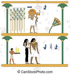 Ancient egypt background. Man returns from hunting with prey. Egypt family resting at our home. Historical background. Ancient people