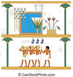 Ancient egypt background. Oasis. Cane and water composition. Egypt builders composition. Historical background. Ancient people